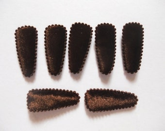 25 pcs - Toddler Felt hair clip COVER - BROWN - size 35 mm