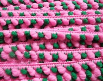 2 yards -  two tone Pink and Green Pom Pom Trim - size 10 mm