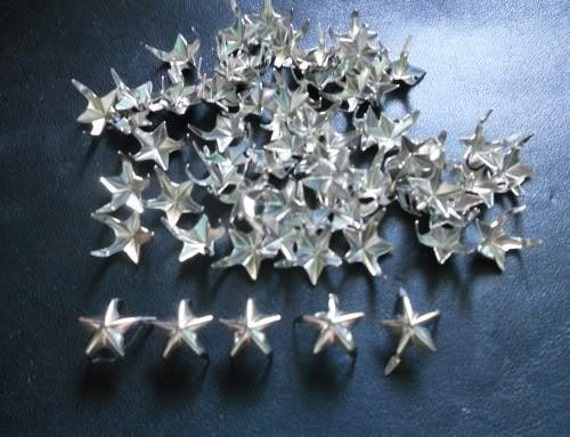 100 pcs -  Bright Silver tone Star Stud spot spike for leather craft - size 12 mm