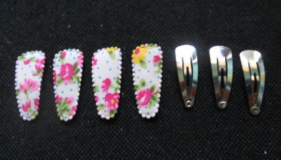 24 set - Pink flower hair clip COVER and Silver tone Hair snap clip for toddler - size 35 mm