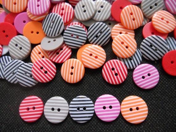 26 pcs Cute retro Stripe printed button size 18 mm mix color