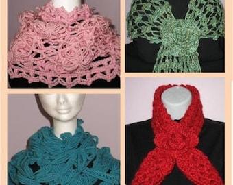 INSTANT DOWNLOAD 4 Beautiful Unique Crochet Scarf Patterns Dogwood Daisy Rose Flower Headband Scarf