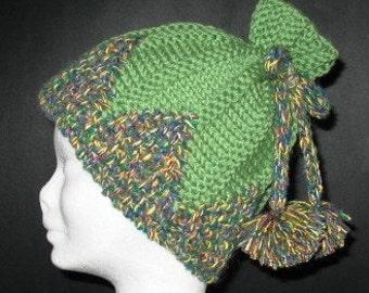 INSTANT DOWNLOAD Knitting Pattern - Lovely Green Pom Pom Hat Perfect Season Present