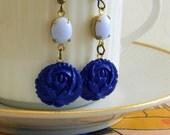 Indigo Rose. vintage blue rose and periwinkle stone drop dangle earrings