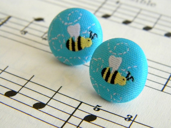 Bee Yourself. blue fabric button earrings
