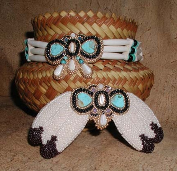 RESERVED sassylilv's WINGS Eagle and Butterfly Native American Indian Choker and Hairclip set