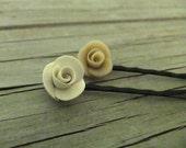 Vintage Inspired Rose Hairpins White Set