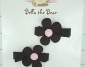 Chocolate Brown Daisy Clip Set