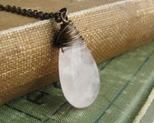 Rose Quartz Pendant Briolette Necklace