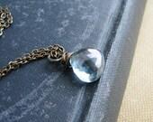 Blue Briolette Necklace Wire Wrapped Quartz Blue Mystic Heart Briolette Minimalist Modern Fresh