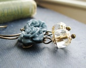 Earrings Blue Resin Flower Cabochons and Czech Glass Beads Antique Brass Hooks - Sincere