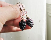 Grape Earrings Deep Purple Grape Beads and Crystals - Grapelicious