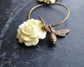 Rose Bee Earrings Botanical Jewelry Cream Cabbage Rose Antique Brass Bee Charm Sleeper Hoops