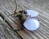Glass Briolette Earrings Pale Lavender Purple Earrings Minimalist Modern Fresh