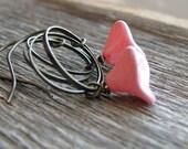 Pink Flower Earrings Pink Czech Glass Flowers Brass Rings Botanical Jewelry Nature Inspired Minimalist Modern