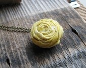 Mustard Ranunculus Necklace Bridal Botanical Jewelry Golden Mustard Colored Fabric Flower Antique Brass Chain