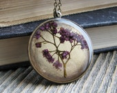 Pink Botanical Necklace Spirea Plant Botanical Jewelry Pressed Flowers Resin Antique Brass Chain