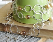 Circle Chain Long Necklace Circle Chain Glass Pearls Czech Glass Beads Silver Toned Chain