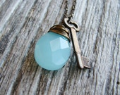 Key Briolette Necklace Wire Wrapped Aqua Glass Briolette Brass Key Charm Antique Brass