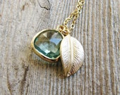 Bezeled Glass Leaf Necklace Leaf Gold Filled Chain Pale Aqua Green Glass Briolette Botanical Jewelry