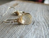 Gold Crystal Earrings Champagne Crystals Gold Filled Minimalist Modern Fresh Bridal Jewelry