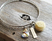 Charm Bangle Bracelets Upcycled Vintage Nature Inspired Tulle Flower Ranunculus Crystal Briolette Brass Charm Bracelets