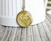 Dogwood Flower Necklace Pressed Real Flowers Botanical Jewelry Nature Inspired Garden Lover Gift White Cluster Flower
