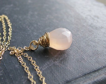Pale Pink Stone Necklace Briolette Necklace Gold Wire Wrapped Faceted Chalcedony Briolette 14kt Gold Filled Bridal Minimalist Modern Fresh