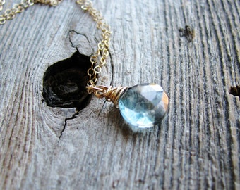 Aqua Stone Necklace Briolette Jewelry Gold Necklace Wire Wrapped Mystic Blue Quartz Minimalist Modern Fresh Jewelry Gold Filled Chain