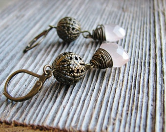 Pink Briolette Earrings Wire Wrapped Faceted Chalcedony Antique Brass Filigree Beads Earrings