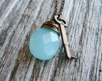 Briolette Charm Necklace Skeleton Key Wire Wrapped Aqua Glass Briolette Brass Minimalist
