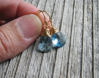Blue Crystal Earrings Gold Filled Hooks Sky Blue Crystal Briolette Teardrops Minimalist Modern March Birthday