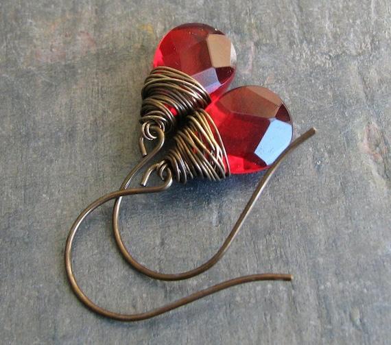 Ruby Red - Czech Glass Briolette Earrings