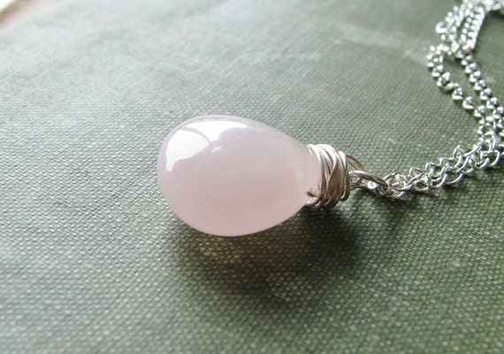 Jade Briolette Necklace Wire Wrapped Pink Gem Stone Sterling Silver Chain Minimalist Modern