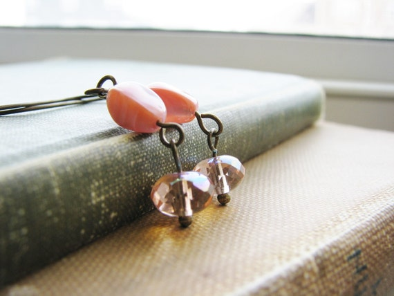 Czech Glass Bead Earrings and Crystal Rondelles on Antique Brass - Pink Punch