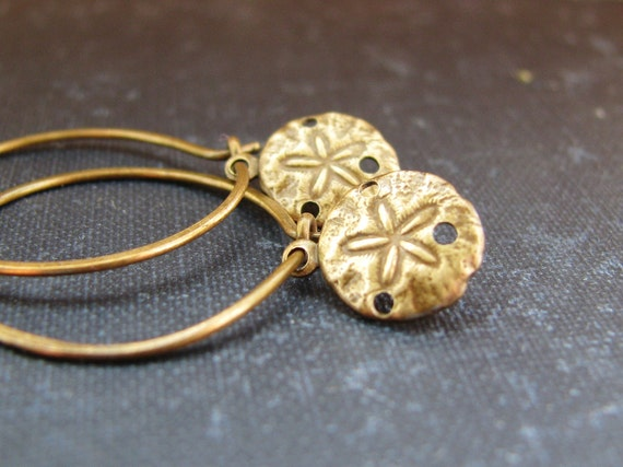 Sand Dollars - Earrings Antique Brass Sand Dollar Charms on Antique Brass Sleeper Hoops Minimalist Modern