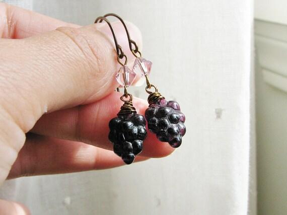 Grape Earrings Deep Purple Grape Beads and Crystals - Grapelicious