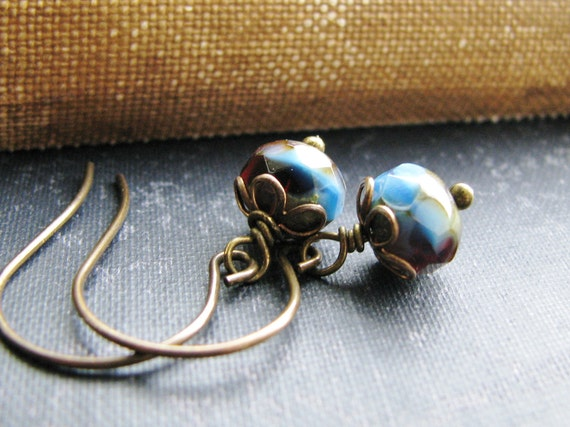 Delicate Czech Glass Earrings Red and Blue Picasso Czech Glass Rondelles Antique Brass - Emma