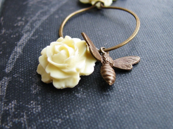 Rose Bee Earrings Botanical Jewelry Cream Cabbage Rose Antique Brass Bee Charm Sleeper Hoops