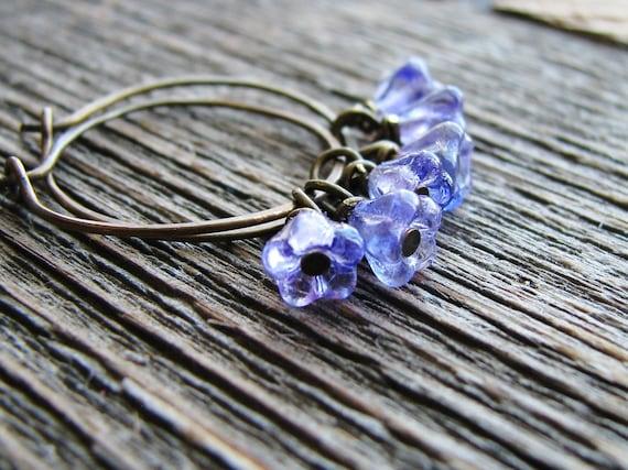 Flower Bead Earrings Purple Flowers Czech Glass Bead Botanical Jewelry Garden Inspired Antique Brass Sleeper Hoops