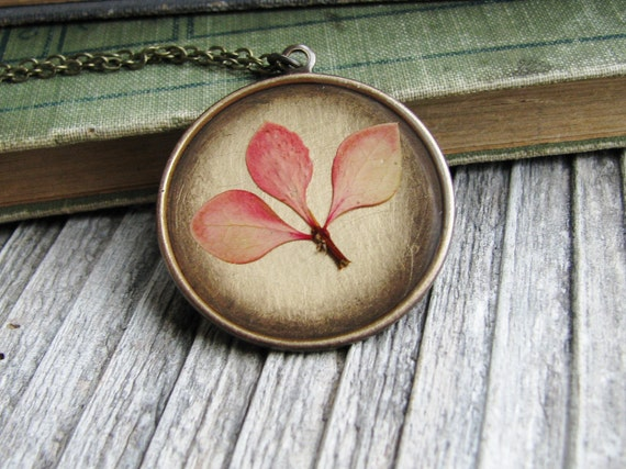 Pressed Leaf Necklace Pressed Barberry Leaves Variegated Orange Yellow Botanical Jewelry Resin Antique Brass Chain - Spring Softly