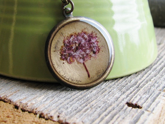 Pink Flower Necklace Botanical Jewelry Spirea Plant Pressed Flowers Resin Antique Brass Chain