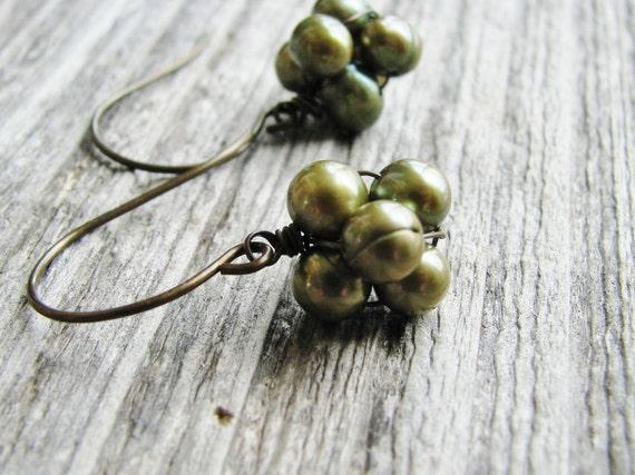 Green Pearl Earrings Green Fresh Water Pearl Clusters Antique Brass Hooks