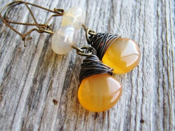 Briolette Earrings Wire Wrapped Chalcedony Briolettes Czech Glass Beads Kidney Ear Hooks Brass