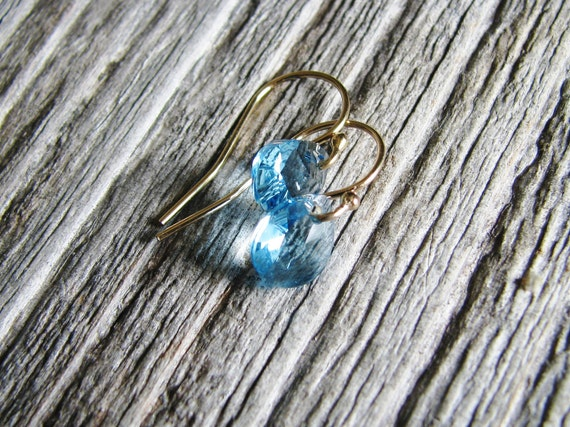 Aqua Crystal Earrings Gold Filled Hooks March Birthday Petite Sky Blue Crystal Briolettes Minimalist Modern
