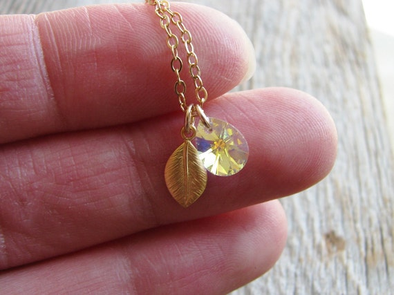 Crystal Leaf Gold Filled Necklace Botanical Jewelry Minimalist Tiny Crystal Briolette Mini Gold Leaf 14kt Gold Filled Chain