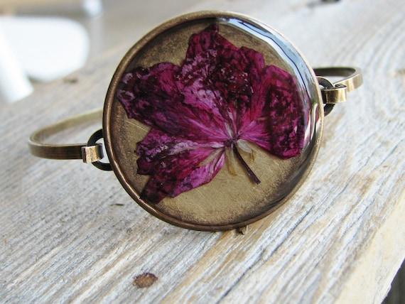 Flower Cuff Bracelet Pressed Flower Pink Magenta Geranium Resin Jewelry Nature Inspired Cuff Botanical Jewelry
