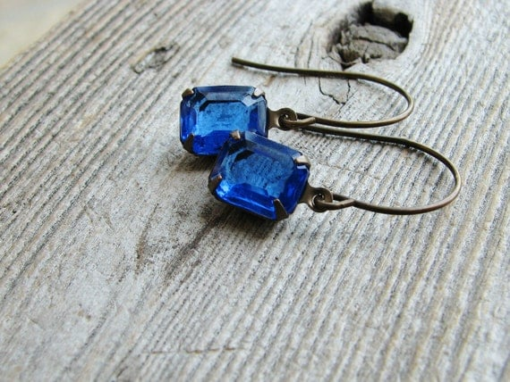 Glass Jewel Earrings Vintage Cut Glass Jewels Antique Brass Blue Sapphire