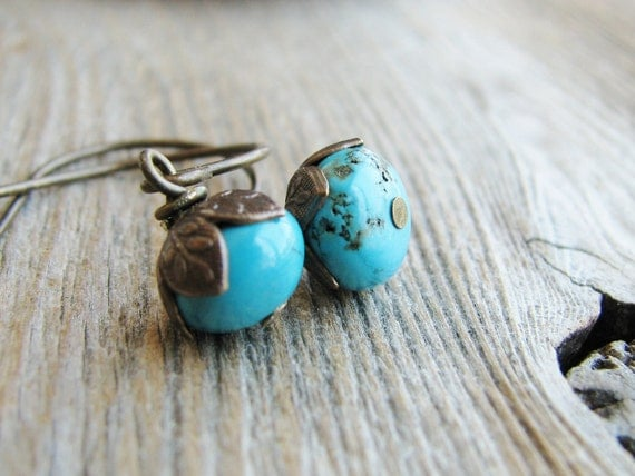 Turquoise Bead Earrings Flower Leaf Caps Antique Brass Nature Lover Inspired Botanical Jewelry