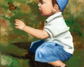Hello Butterfly - Giclee of Original Oil Painting on 8x10 Stretched Canvas